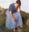 Breton Jules Young Woman in a Field