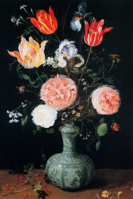 Breughel Jan Sr Flowers in a Chinese vase Sun