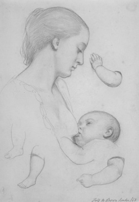 Brown Ford Madox The Young Mother sheet of studies