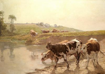 Brozik Vaclav Cattle In A Pasture