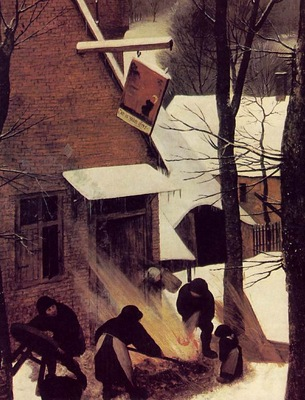 Bruegel d a  The hunters in the snow, 1565, Detalj 2, 117x16