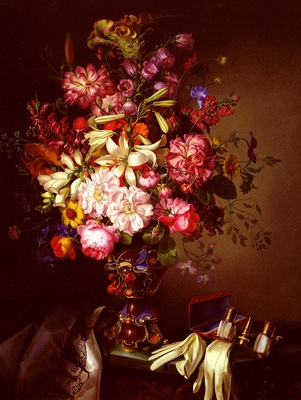 Brunner Leopold Still Life With A Vase Of Flower And Opera Glasses