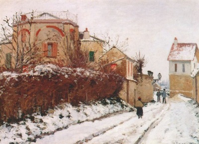 pissarro street in pontoise winter