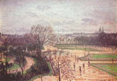 pissarro the tuileries gardens, paris, rain