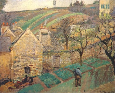 pissarro hillside in the hermitage, pontoise