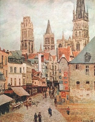 pissarro rue de lepicerie, rouen morning, gray weather