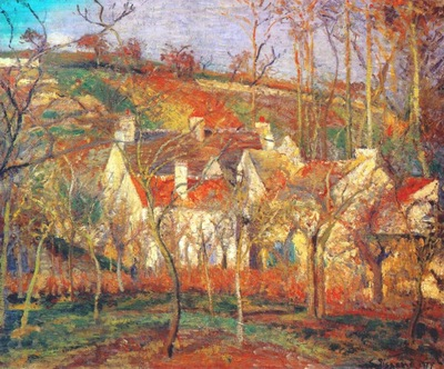pissarro red roofs a corner of the village in winter