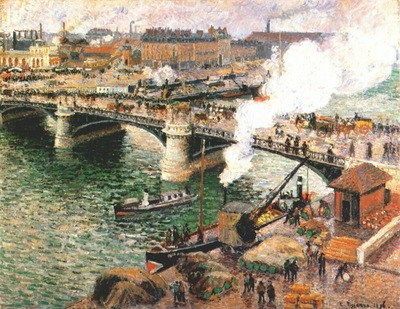pissarro the boieldieu bridge at rouen damp weather