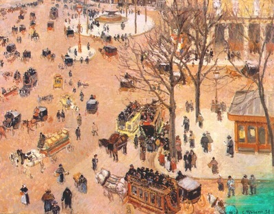 pissarro the place du theatre francais, paris