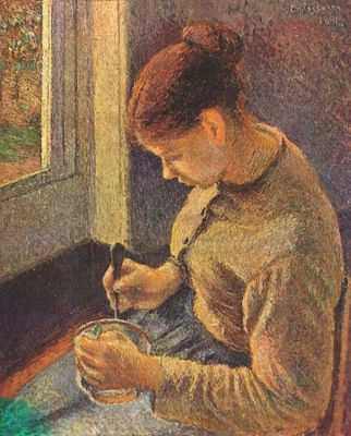 pissarro young peasant woman taking her morning coffee
