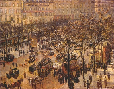 pissarro boulevard des italiens, paris morning sunlight