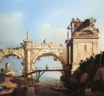 Canaletto Canal Giovanni Capriccio and ruined arcade Sun
