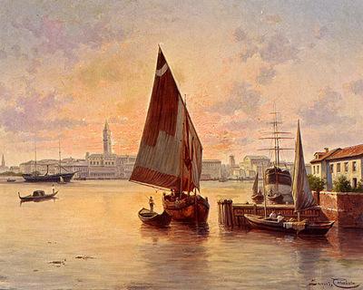 Carabain Jaques Francois Un Soleil Couchant A Venise