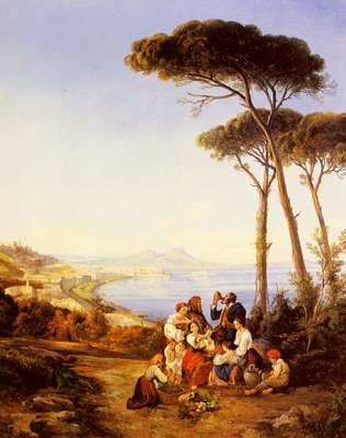 Carelli Consalve A Group Of Peasants With The Bay Naples Beyond