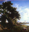 Carelli Consalvo Italian 1818 to 1900 Landscape Near Naples With The Isle Of Capri In The Dista