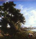 Carelli Consalvo Italian 1818 to 1900 Landscape Near Naples With The Isle Of Capri In The Dista