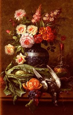 Carlier Modeste nature Morte Aux Fleurs Et A LOrange