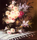 Carlier Modeste Still Life With Assorted Flowers In A Brass Vase