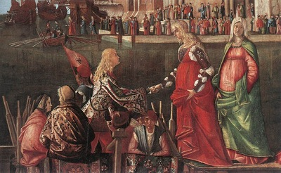 Carpaccio Meeting of the Betrothed Couple and the Departure of the Pilgrims detail1