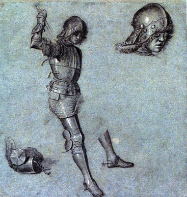 Carpaccio Three studies of a cavalier in armor