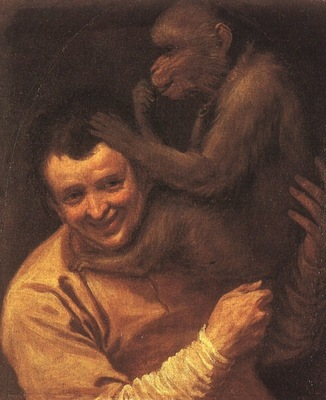 CARRACCI A MAN WITH A MONKEY, 1590 91, OIL ON CANVAS