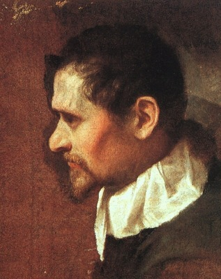 CARRACCI SELF PORTAIT IN PROFILE, 1590 1600, OIL ON CANVAS