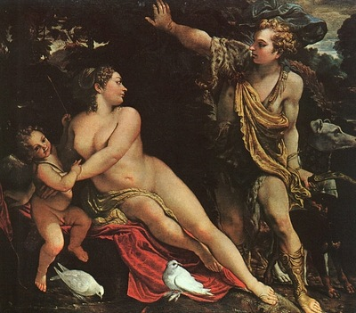 CARRACCI VENUS, ADONIS, AND CUPID, 1590, OIL ON CANVAS
