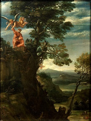 carracci,annibale landscape with the sacrifice of isaac, c