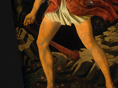 Andrea del Castagno The Youthful David, c 1450, Detalj 2, NG