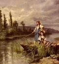 Castiglione Giuseppe On The River At Dusk