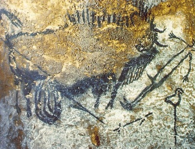 CAVE PAINTING WOUNDED BISON ATTACKING A MAN, C 15,000 10,00