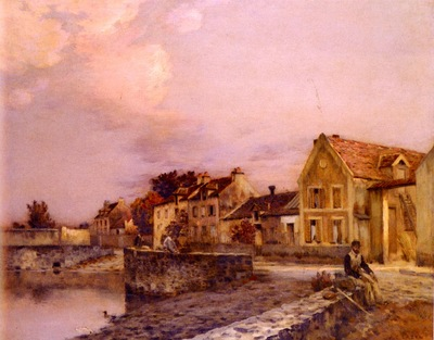 Cazin Jean Charles Figures At The Village Pond, Sunset