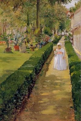 Chase William Merritt Child on a Garden Walk