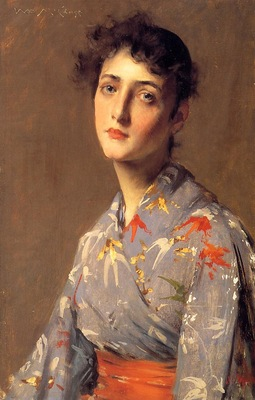 Chase William Merritt Girl in a Japanese Kimono