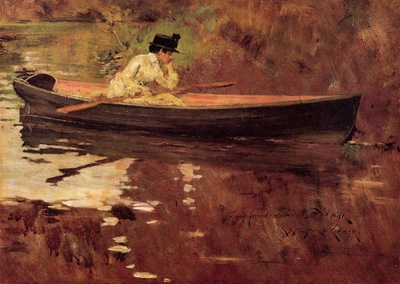 Chase William Merritt Mrs  Chase in Prospect Park