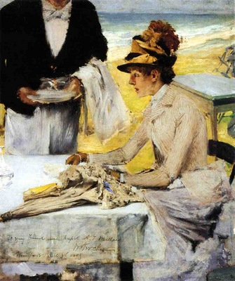 Chase William Merritt Ordering Lunch by the Seaside