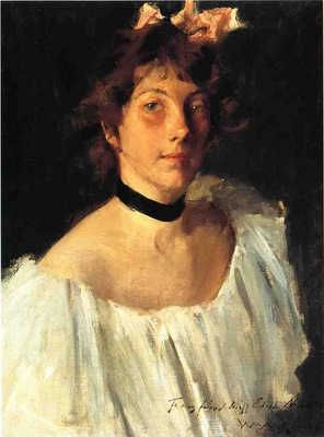 Chase William Merritt Portrait of a Lady in a White Dress aka Miss Edith Newbold
