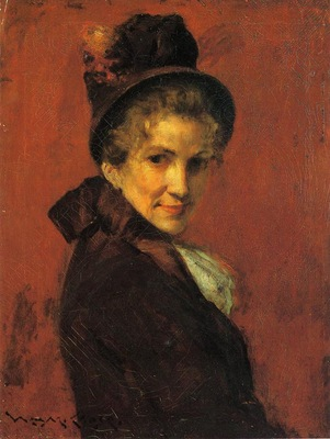 Chase William Merritt Portrait of a Woman black bonnet
