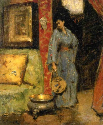 Chase William Merritt Woman in Kimono Holding a Japanese Fan