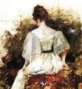 Chase William Merritt Portrait of a Woman The White Dress