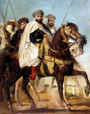 chasseriau theodore ali ben hamet caliph of constantine of the haractas followed by his escort