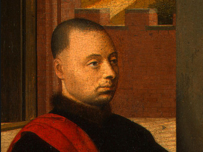 CHRISTUS PORTRAIT OF A MALE DONOR, DETALJ 1,C 1455, NG WASHI
