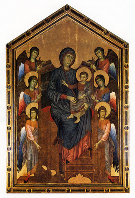 Cimabue Giovanni The Virgin And Child In Majesty Surrounded By Six Angels