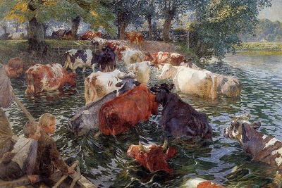 Claus Emile Cows crossing the Leie Sun