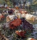 Claus Emile Cows crossing the Leie Sun