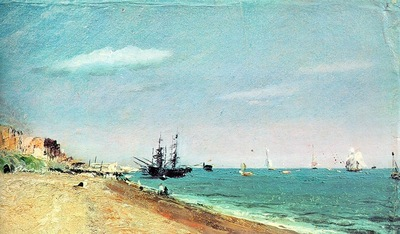 CONSTABLE BRIGHTON BEACH WITH COLLIERS, 1824, OIL ON PAPER