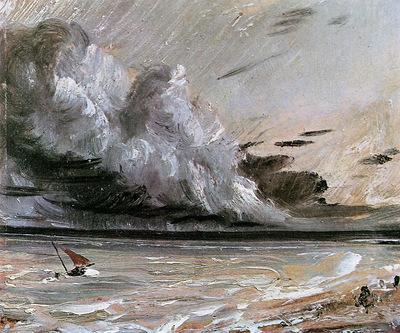 Constable John Coast scene with breaking cloud Sun