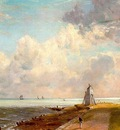 CONSTABLE HARWICH LIGHTHOUSE, APPROX  1820, OIL ON CANVAS