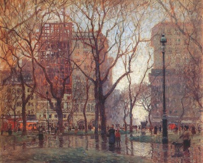 cornoyer rainy day, madison square, new york c1907