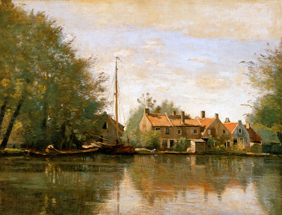 Corot Camille River landscape in Holland Sun